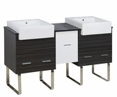 American Imaginations 62-in. W Floor Mount White-Dawn Grey Vanity Set For 3H8-in. Drilling Black Galaxy Top