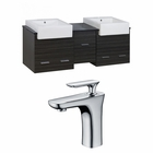 American Imaginations 62-in. W Wall Mount Dawn Grey Vanity Set For 1 Hole Drilling