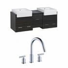 American Imaginations 62-in. W Wall Mount Dawn Grey Vanity Set For 3H8-in. Drilling