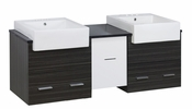 American Imaginations 62-in. W Wall Mount White-Dawn Grey Vanity Set For 3H4-in. Drilling Black Galaxy Top