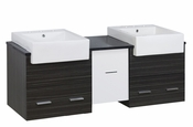 American Imaginations 62-in. W Wall Mount White-Dawn Grey Vanity Set For 3H8-in. Drilling Black Galaxy Top