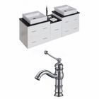 62-in. W Wall Mount White Vanity Set For 1 Hole Drilling