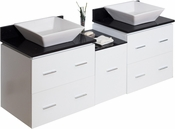 62-in. W Wall Mount White Vanity Set For Deck Mount Drilling Black Galaxy Top