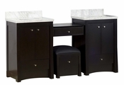 68.75-in. W Floor Mount Distressed Antique Walnut Vanity Set For 1 Hole Drilling Bianca Carara Top White UM Sink