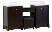68.75-in. W Floor Mount Distressed Antique Walnut Vanity Set For 3H4-in. Drilling Bianca Carara Top White UM Sink