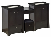 68.75-in. W Floor Mount Distressed Antique Walnut Vanity Set For 3H4-in. Drilling Black Galaxy Top Biscuit UM Sink