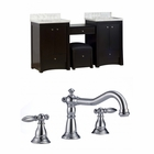 American Imaginations 68.75-in. W Floor Mount Distressed Antique Walnut Vanity Set For 3H8-in. Drilling
