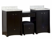 68.75-in. W Floor Mount Distressed Antique Walnut Vanity Set For 3H8-in. Drilling Bianca Carara Top White UM Sink