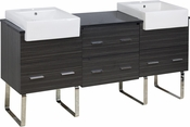 American Imaginations 72-in. W Floor Mount Dawn Grey Vanity Set For 1 Hole Drilling Black Galaxy Top