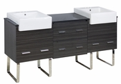 72-in. W Floor Mount Dawn Grey Vanity Set For 3H4-in. Drilling Black Galaxy Top