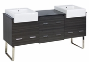 American Imaginations 72-in. W Floor Mount Dawn Grey Vanity Set For 3H4-in. Drilling Black Galaxy Top