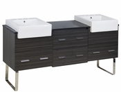American Imaginations 72-in. W Floor Mount Dawn Grey Vanity Set For 3H8-in. Drilling Black Galaxy Top