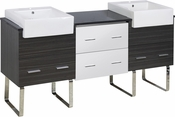 American Imaginations 72-in. W Floor Mount White-Dawn Grey Vanity Set For 1 Hole Drilling Black Galaxy Top