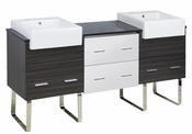 American Imaginations 72-in. W Floor Mount White-Dawn Grey Vanity Set For 3H4-in. Drilling Black Galaxy Top