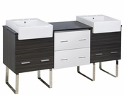 American Imaginations 72-in. W Floor Mount White-Dawn Grey Vanity Set For 3H8-in. Drilling Black Galaxy Top