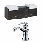 72-in. W Wall Mount Dawn Grey Vanity Set For 1 Hole Drilling