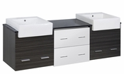 American Imaginations 72-in. W Wall Mount White-Dawn Grey Vanity Set For 1 Hole Drilling Black Galaxy Top