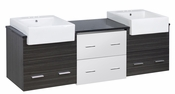 American Imaginations 72-in. W Wall Mount White-Dawn Grey Vanity Set For 3H4-in. Drilling Black Galaxy Top