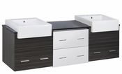 American Imaginations 72-in. W Wall Mount White-Dawn Grey Vanity Set For 3H8-in. Drilling Black Galaxy Top