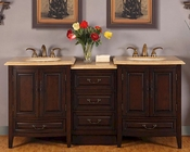 "72"" Silkroad Double Sink Cabinet w/Drawer Bank, LED Lights"