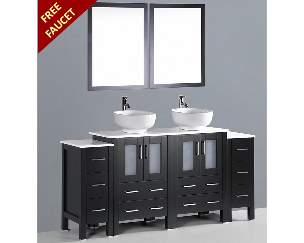 72in Double Round Sink Vanity By Bosconi Boab224ro2s