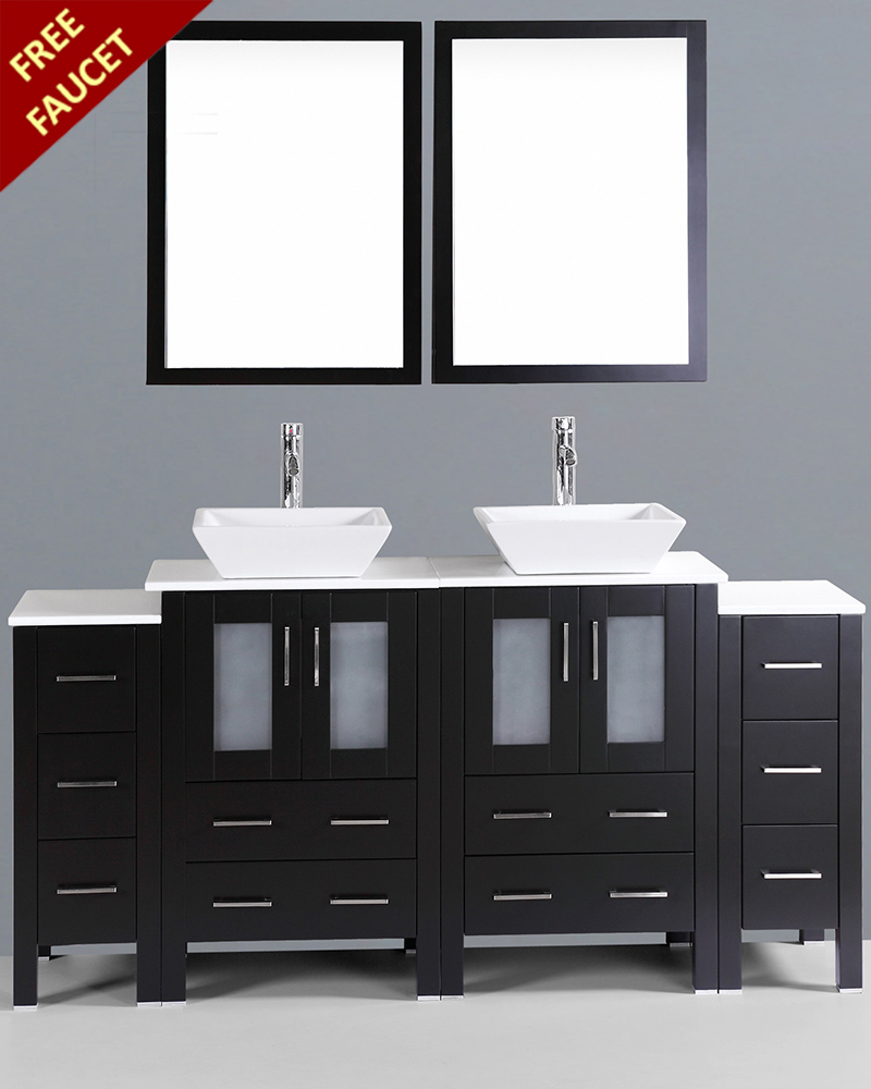72in Double Square Vessel Sink Vanity By Bosconi Boab224s2s