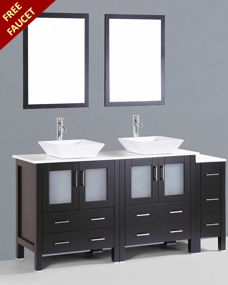72 Madison Double Vessel Sink Vanity: 72in Square Vessel Sink Double Vanity By Bosconi BOAB230S1S
