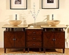 "73"" Silkroad Double Sink Cabinet 7/8"" Travertine Top w/Drawer Bank"