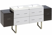 74.5-in. W Floor Mount White-Dawn Grey Vanity Set For 1 Hole Drilling