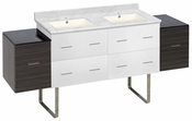 74.5-in. W Floor Mount White-Dawn Grey Vanity Set For 1 Hole Drilling Bianca Carara Top Biscuit UM Sink