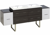 74.5-in. W Floor Mount White-Dawn Grey Vanity Set For 3H4-in. Drilling