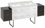 74.5-in. W Floor Mount White-Dawn Grey Vanity Set For 3H4-in. Drilling Bianca Carara Top Biscuit UM Sink