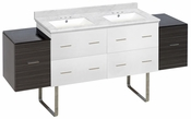 74.5-in. W Floor Mount White-Dawn Grey Vanity Set For 3H4-in. Drilling Bianca Carara Top White UM Sink