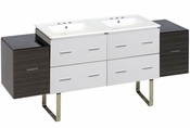 74.5-in. W Floor Mount White-Dawn Grey Vanity Set For 3H8-in. Drilling