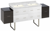 74.5-in. W Floor Mount White-Dawn Grey Vanity Set For 3H8-in. Drilling Bianca Carara Top Biscuit UM Sink