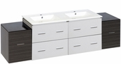 74.5-in. W Wall Mount White-Dawn Grey Vanity Set For 1 Hole Drilling