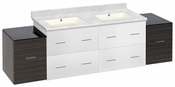 74.5-in. W Wall Mount White-Dawn Grey Vanity Set For 1 Hole Drilling Bianca Carara Top Biscuit UM Sink