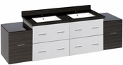 74.5-in. W Wall Mount White-Dawn Grey Vanity Set For 1 Hole Drilling Black Galaxy Top White UM Sink