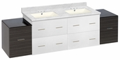 74.5-in. W Wall Mount White-Dawn Grey Vanity Set For 3H4-in. Drilling Bianca Carara Top Biscuit UM Sink