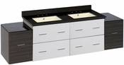 74.5-in. W Wall Mount White-Dawn Grey Vanity Set For 3H8-in. Drilling Black Galaxy Top Biscuit UM Sink
