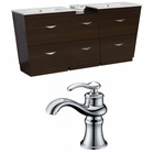 American Imaginations 74-in. W Floor Mount Wenge Vanity Set For 1 Hole Drilling