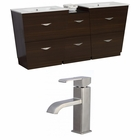 74-in. W Floor Mount Wenge Vanity Set For 1 Hole Drilling