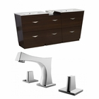American Imaginations 74-in. W Floor Mount Wenge Vanity Set For 3H8-in. Drilling