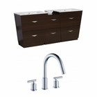 74-in. W Floor Mount Wenge Vanity Set For 3H8-in. Drilling
