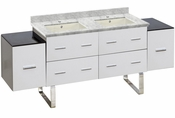 American Imaginations 74-in. W Floor Mount White Vanity Set For 1 Hole Drilling Bianca Carara Top Biscuit UM Sink