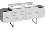 American Imaginations 74-in. W Floor Mount White Vanity Set For 1 Hole Drilling Bianca Carara Top White UM Sink