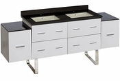 American Imaginations 74-in. W Floor Mount White Vanity Set For 1 Hole Drilling Black Galaxy Top Biscuit UM Sink