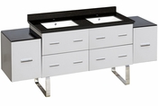 American Imaginations 74-in. W Floor Mount White Vanity Set For 1 Hole Drilling Black Galaxy Top White UM Sink