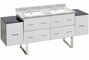 American Imaginations 74-in. W Floor Mount White Vanity Set For 3H4-in. Drilling Bianca Carara Top White UM Sink