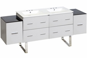 74-in. W Floor Mount White Vanity Set For 3H8-in. Drilling